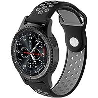 XIHAMA for Samsung Galaxy Gear S3 バンド 交換ベルト シリコーンゴム ストラップ Huawei Watch GT マルチカラー選択 22mm(黒/グレー)