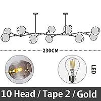 51BuyWorld 分子シャンデリア北欧アートLEDランプパーソナリティクリエイティブランプポスト - モダンな照明のレストランのシャンデリア,ゴールデン,10 頭 / タイプ 2