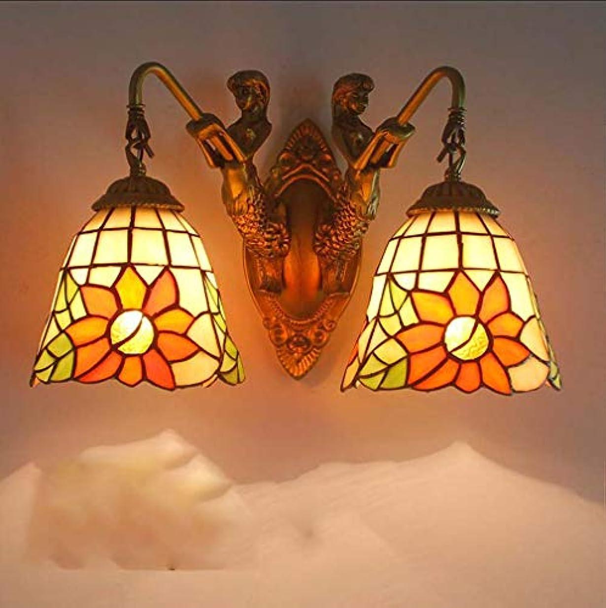 月曜日テクスチャー誠実さアンティークティファニースタイル壁取り付け用燭台ランプひまわりステンドグラスシェード、屋内のリビングルームのバスルームミラーヘッドライト、黄色のヴィンテージの壁ライト,D