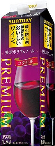 サントリー 酸化防止剤無添加のおいしいワイン。 贅沢ポリフェノール コクの赤 辛口 1800ml