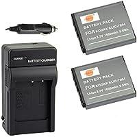 DSTE® アクセサリーキット Kodak KLIC-7004 NP-50 D-LI68 互換 カメラ バッテリー 2個+充電器キット 対応機種 EasyShare M1033 M1093 M2008 V1073 V1273 V1233 V1253 Zi8 ZX3 ZI12 Pentax Q7 Q10 Q-S1