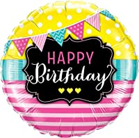 Qualatex Happy Birthday Pennants & Pink Stripes 18 Inch Foil Balloon