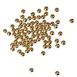 【ノーブランド 品】 シードビーズ 人工パールジュエリー 材料 アクセサリー パーツ DIY 100個 6mm ゴールデン