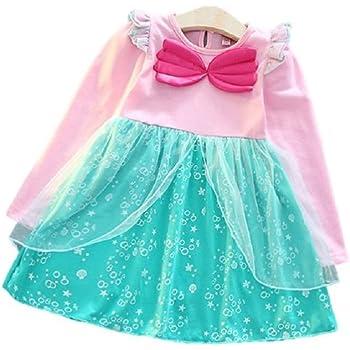 ef4507c773007 (MISOAMISO) ディズニープリンセス 子供用 ドレス キッズ 長袖 ワンピース アリエル ラプンツェル エルサ 人魚姫