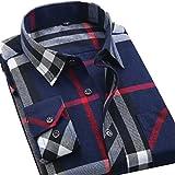 (アイラブコス)iLoveCos JP ネルシャツ メンズ ギンガム ブロック 長袖 チェックシャツ (L, ブルーレッド大チェック)