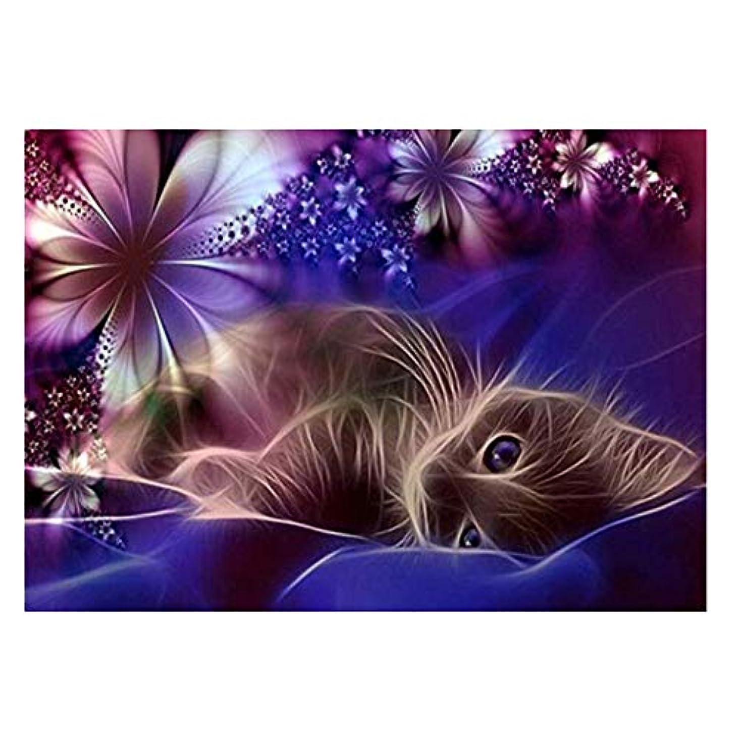 物理的な泣き叫ぶレタッチ5D 手作りダイヤモンド絵画?30×40cmかわいい猫5Dダイヤモンドペインティングるまインテリア プレゼント ホーム レストラン 壁掛け 装飾 (マルチカラー)