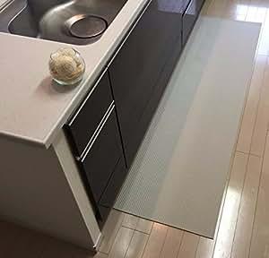 90 cm x 50 cm 洗濯いらず ずれない 抗菌 ふく楽 キッチン マット オフホワイト 4573213473269