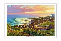 日没時の海岸沿いのヴィンヤード - ワインカントリーアート によって作成された カーン・エリクソン - アートポスター - 31cm x 46cm