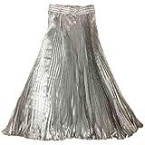 (エスタロージー) Esta Rosy スイングする サテン ロング プリーツ スカート つるつる 美しい 光沢 エレガント (ライトグレー)