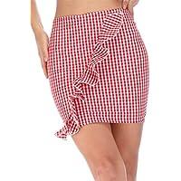 Haola Women's Plaid Ruffle Skirt Summer Casual High Waist Mini Bodycon Skirts