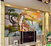 Bzbhart リビングルームタイガーテレビの背景壁の壁画の写真の壁紙のための3D壁画の壁紙-400cmx280cm