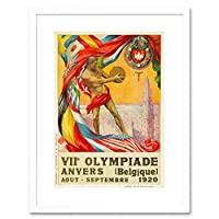 Sport Ad 1920 Olympic Games Antwerp Belgium Flag Discus Framed Wall Art Print スポーツオリンピックゲームベルギーフラッグ壁
