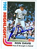 Autograph Warehouse 26944 Ron Davis Autographed Baseball Card New York Yankees 1982 Topps Record Breaker No. 2