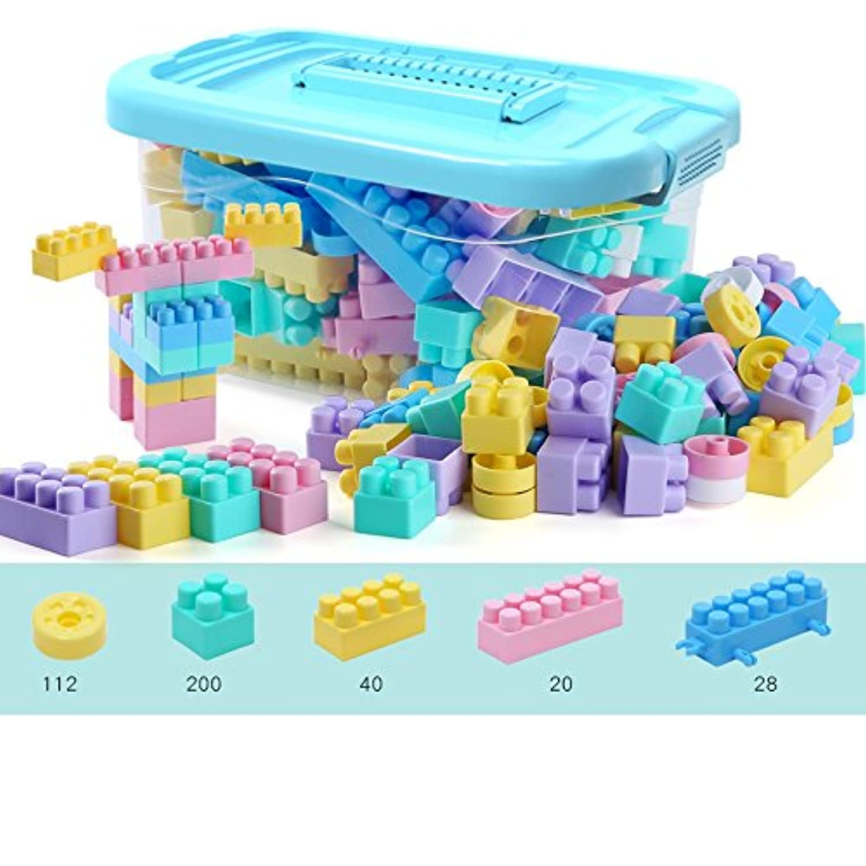 siyushop建物ブロック子供の教育玩具ソリッドプラスチックSuitable for preschool子供ボーイズ、ガールズ、子安全materials – 200ピースwithストレージバッグ(カラー: 400 1 )