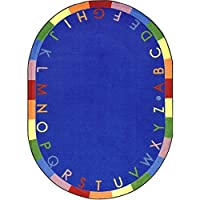Joy Carpets Kid Essentials Early Childhood Oval Rainbow Alphabet Rug Bold 3'10 x 5'4 [並行輸入品]