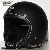 TT&CO. スーパーマグナム レザーリムショット ブラックレザー マットブラック 乗車用 SG/PSC/DOT規格品 ジェットヘルメット