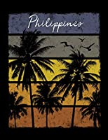 Philippines: Notebook With Lined College Ruled Paper For Work, Home Or School. Stylish Retro Sunset Palm Tree Travel Journal Diary 8.5 x 11 Inch Soft Cover.