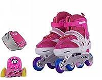 スケート セット インラインスケート ローラースケート 発光 全ウィールが光る メッシュ 通気性抜群 大人 キッズ 子供用 初心者向け ローラーシューズ (ピンク, S 17-20.5CM)