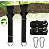 Camping hammock tree swing straps hanging kit Holds 2200 lbs,Adjustable 10ft Extra Long strap with 2 Heavy Duty Safety Lock Carabiner Hooks for Kids-2 Pack(Black)