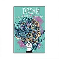 Wangjingxi 現代のキャンバス絵画グリーンウォールアート写真漫画ドリームガールキャンバスプリントポスター用リビングルーム女の子寝室の装飾アート40×60センチ