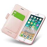 iphone6sケース iphone6ケース 手帳型 薄型 スマホケース PUレザー 全面保護 耐衝撃 カード収納 マグネット付き ストラップホール付き スタンド機能 シンプル おしゃれ (アイフォン6sケース/アイフォン6ケース ローズゴールド)