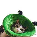 犬 猫用 エリザベスカラー アニマル フルーツ ソフト マジックテープ 介護ケア 傷舐め 引っ掻き 防止 3種 (S, カエルさん)