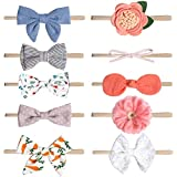 Flyme 10PCS Baby Headbands and Bows Stretchy Knot Headbands Cute Hair Bow for Baby Girls Newborn Toddlers Black