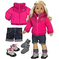 46cm Doll Jacket with Denim Shorts, Socks and Hiking Boots Complete Hiking Doll Outfit