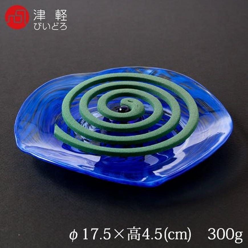 レスリング蘇生する個人的に津軽びいどろガラスの蚊遣りコバルト(CO)青森県の伝統工芸品Kayari made of glass, Aomori craft