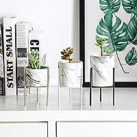 幾何学アイアンラックホルダーフラワーポットセットのセラミックフラワーポットマーブルジューシーなプランターガーデン盆栽鉢:ホワイト、大