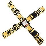 クロース(Kroeus)スーツケースベルト 2個セット 異なるサイズ 十字 一字型ベルト 長さ調整可 トランクベルト ワンタッチ式 旅行 出張 紛失防止 イエロー