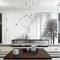Lixiaoer カスタムハイグレードミニマリストモダンリビングルームカビ写真3D壁紙抽象森テレビの背景の壁紙-120X100Cm