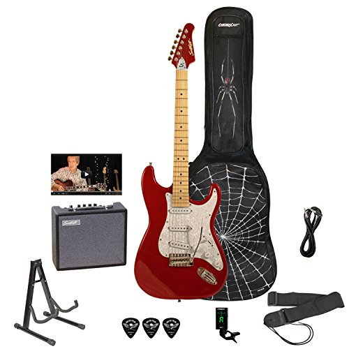 Sawtooth ST-ES-SPIDER-KIT3-CAR ES エレキギター Rockin' Beginner's Pack with White ピックガード, Apple Red エレキギター エレクトリックギター (並行輸入)