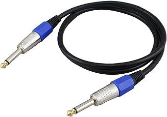 ギターシールド ケーブル シールド ベース シールド 6.35mm エレキギター 楽器ケーブル 高音質導体 キーボード用 直プラグ (モノラル, 1.5m)