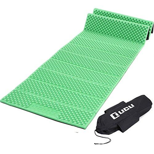 LICLI レジャーマット 極厚 18mm ひとり用 ~ 4人対応 折りたたみ コンパクト 防水 収納袋付き 4色 (グリーン)
