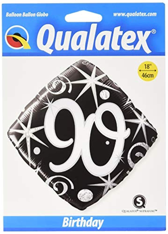 Qualatex 18 Inch Diamond Foil Balloon - 90th Elegant Sparkles Swirls