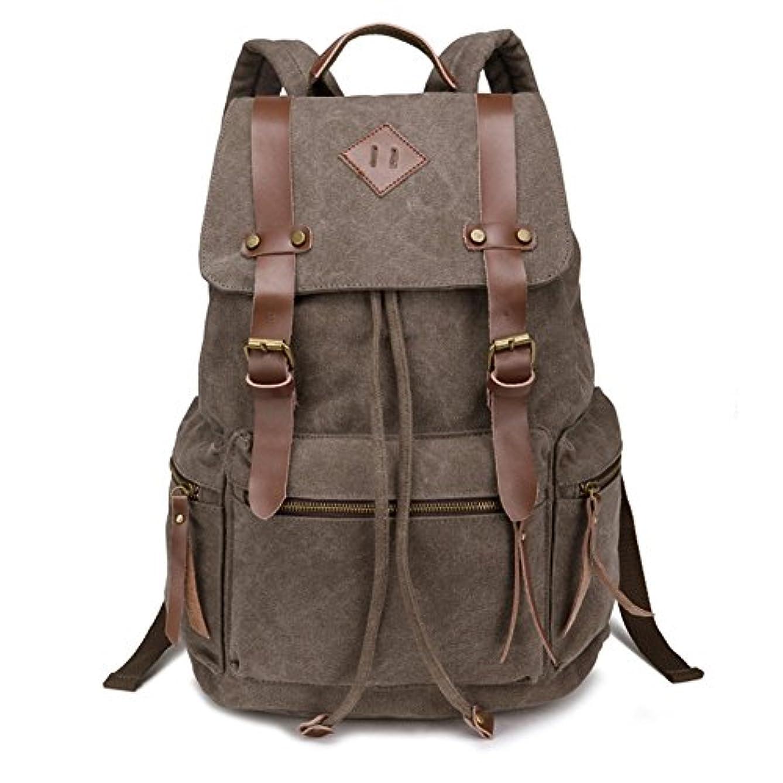 操縦するマーキング抜け目がないBeautyWill Vintage Canvas Backpack Rucksack Casual Bookbag Unisex for College Travel Hiking Camping Men Women Student, Coffee [並行輸入品]
