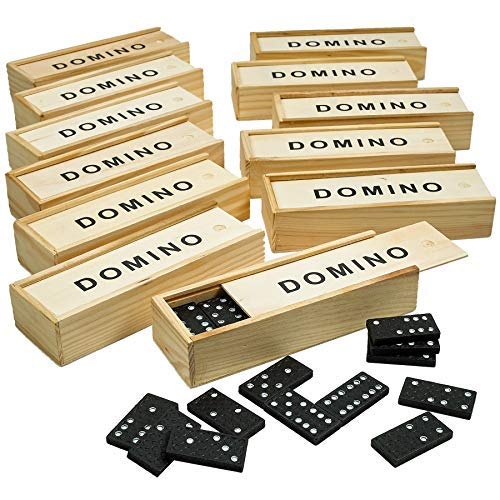 Kicko Wooden Dominoes Set - Pack of 12 Classic Board Games - Blocks, Educational Toys, Game Tiles, Leisure Time, Perfect for Teens and Adult