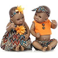 RebornブラックTwinsベビー人形African AmericanフルボディシリコンBoys Kids Toys Real Like Lifelike For Kids