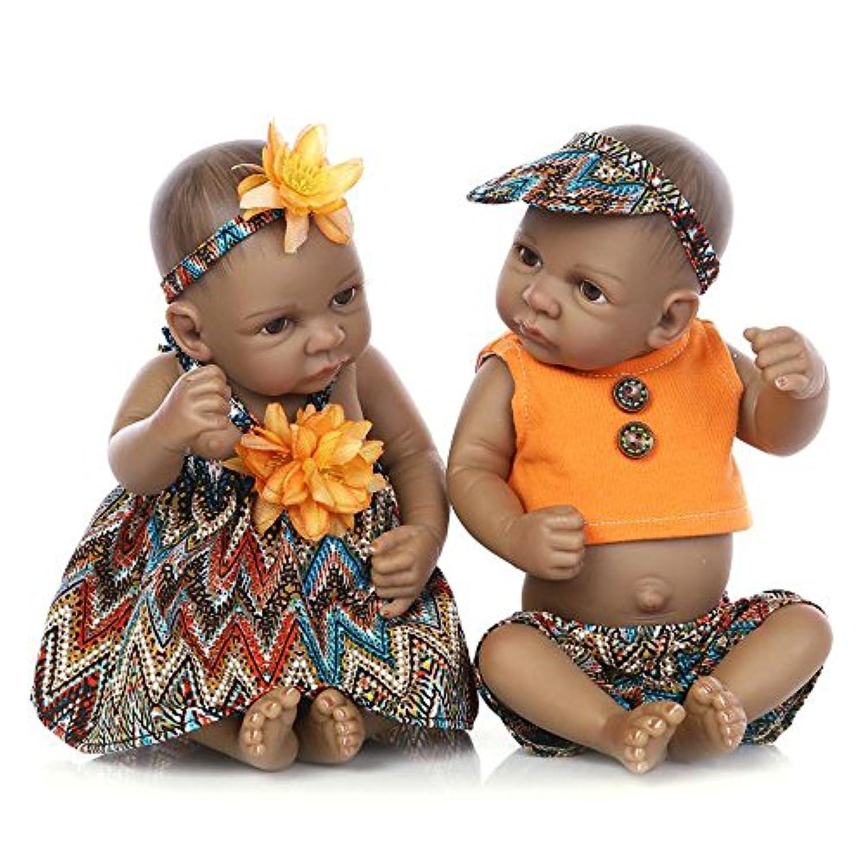 RebornブラックTwinsベビー人形African AmericanフルボディシリコンBoys Kids Toys Real Like Lifelike For Kids