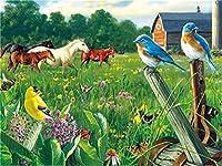 Diyの油絵子供のためのデジタル油絵大人初心者16x20インチ、芝生の馬と鳥--クリスマスの装飾ホームインテリアギフト (フレーム)