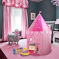 (Princess Castle Play Tent) - WolfWise Toy Castle Play Tent Pop-up Children Game Tent Tunnel Prince or princess