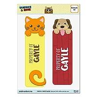 ゲイルオレンジ猫と2光沢ラミネートブックマークの犬セット