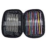 22本入りセット かぎ針セット 編み針 レース針 棒針キャップ 手芸 DIY ステンレス セーターかぎ針 マルチカラー アルミ 編み針