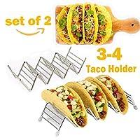 Tacoタコスホルダー、ステンレススチールラック、GoodホルダーStand onテーブル、Hold 3または4ハードかソフトシェルTaco Truckとして、Bakingに安全tray-のセット2