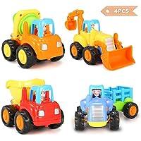funtok Friction Powered Car Push and Go Carsおもちゃセットトラクターブルドーザーセメントミキサーand Dumper Happyエンジニアリング車両ベビー幼児のため4pcs