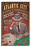 Atlantic City – Poker Tournament Vintage Sign 10 x 15 Wood Sign LANT-46305-10x15W