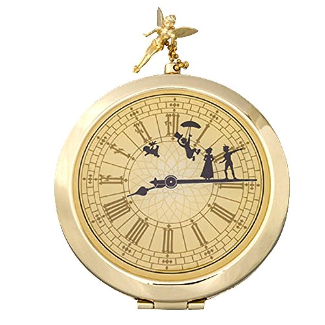 キャンプ外側ほこりっぽい12/1~ ピーターパン コンパクト 式 ミラー 鏡 時計型 アンティーク ディズニー ティンカーベル 他 メイク 用品 ( ディズニーランド限定 )