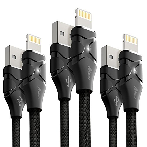 ライトニングケーブル 3本セット 0.15M+1.2M+1.8M Aimus iphone ケーブル LEDライト付き 高耐久 亜鉛合金採用 USB充電 iPhoneX/ 8 / 8 Plus / 7 / 7 Plus / 6s plus / 6s 対応 (ブラック 0.15M+1.2M+1.8M)