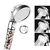 VEHHE Shower Head Anion Filter SPA 3 Modes Adjustable with Stop Button Water Pressurized Shower Head Saving Water Nozzle (Clear)